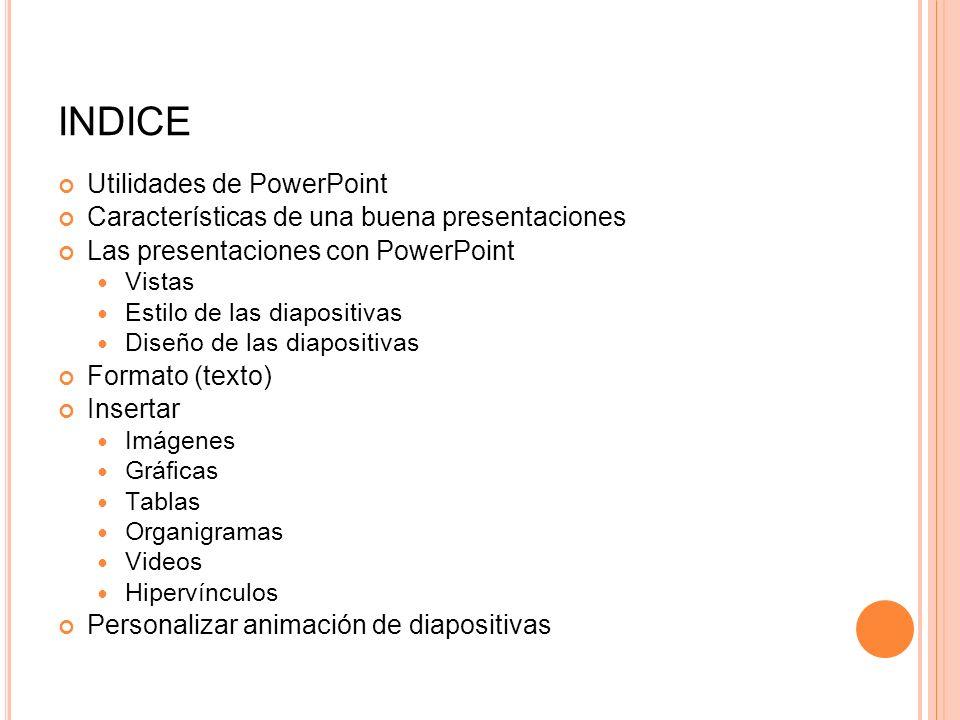 INDICE Utilidades de PowerPoint