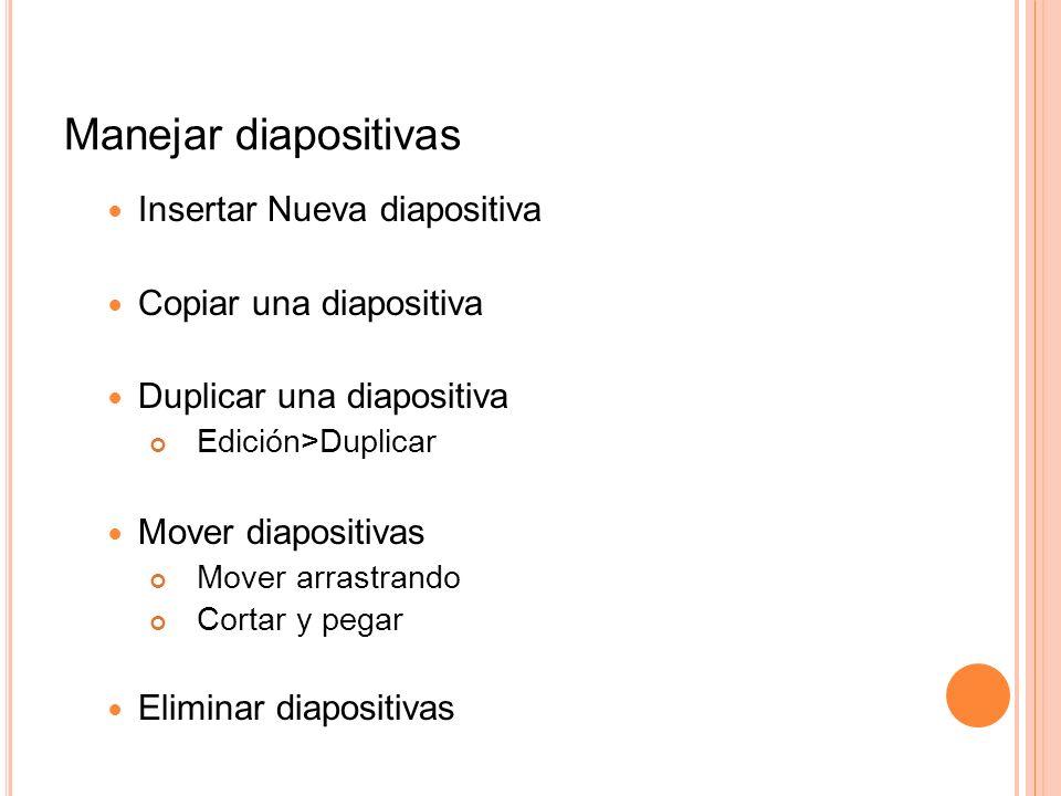 Manejar diapositivas Insertar Nueva diapositiva Copiar una diapositiva