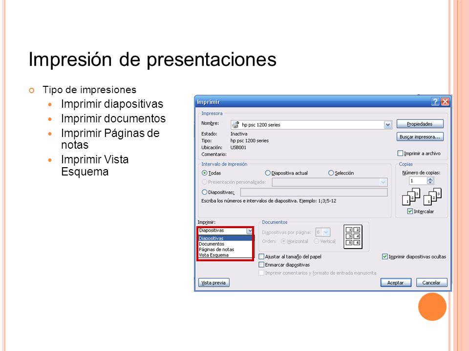 Impresión de presentaciones