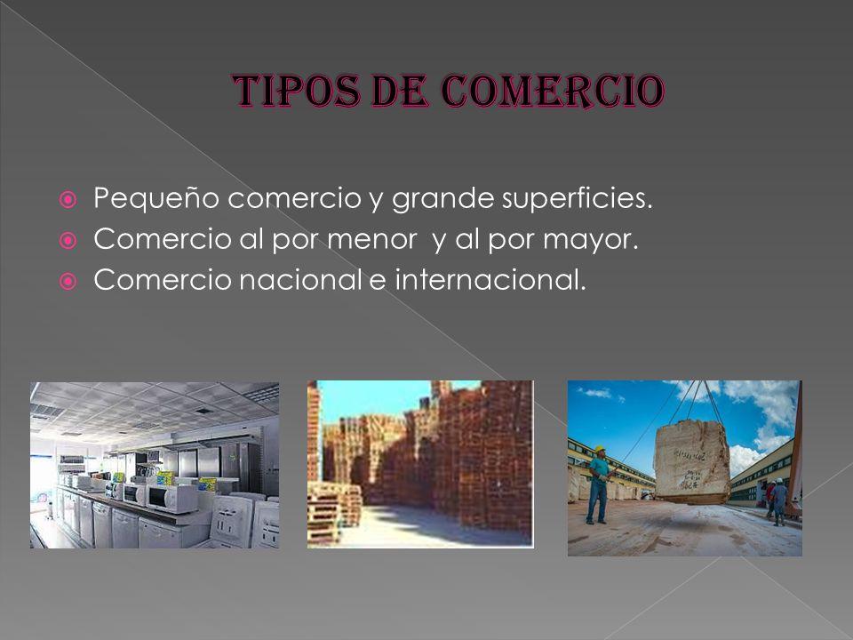 TIPOS DE COMERCIO Pequeño comercio y grande superficies.