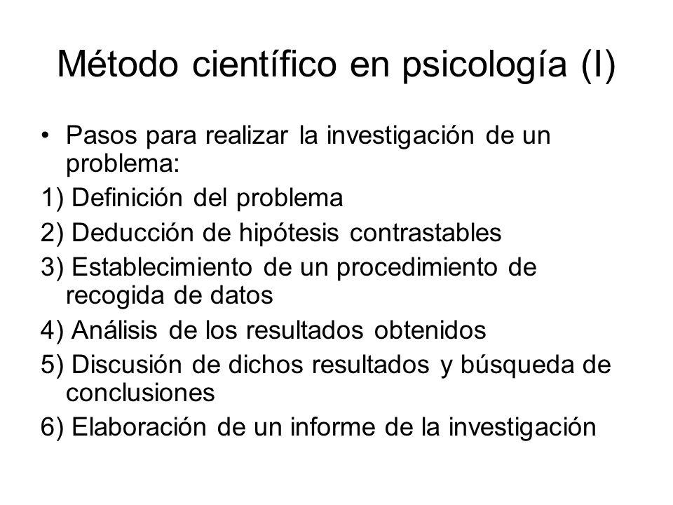 Método científico en psicología (I)