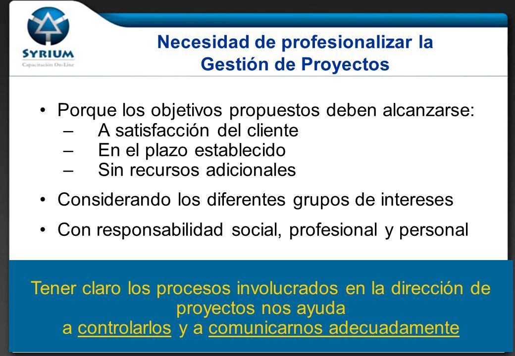 Necesidad de profesionalizar la Gestión de Proyectos