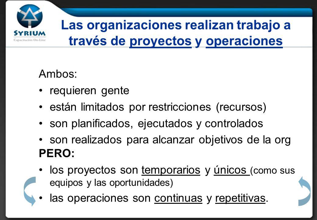 Rosario Morelli, PMP 29/03/2017. Las organizaciones realizan trabajo a través de proyectos y operaciones.