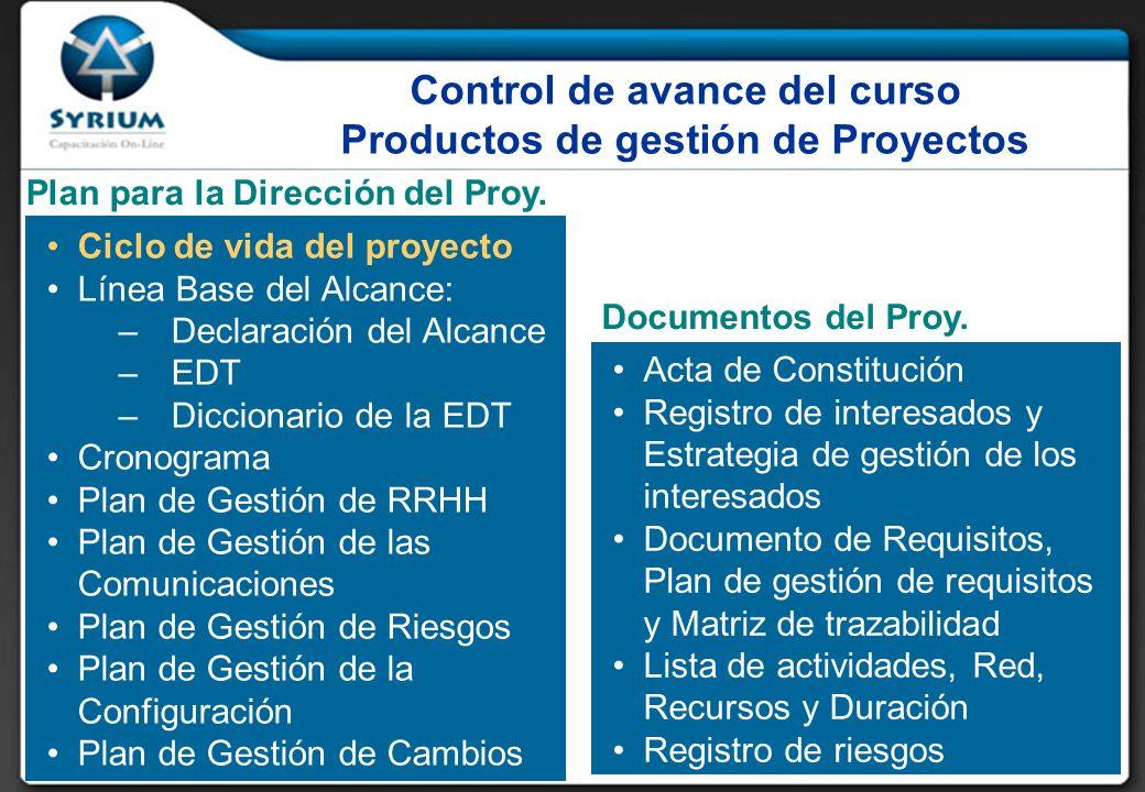 Control de avance del curso Productos de gestión de Proyectos