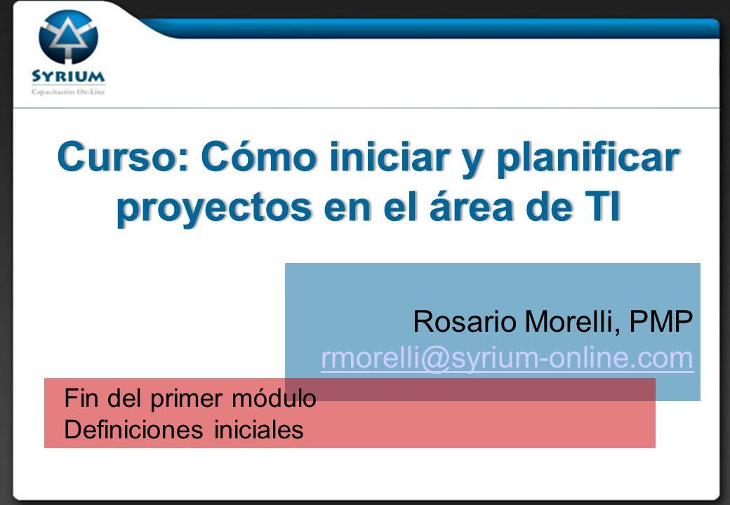 Curso: Cómo iniciar y planificar proyectos en el área de TI