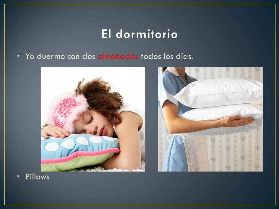 El dormitorio Yo duermo con dos almohadas todos los días. Pillows