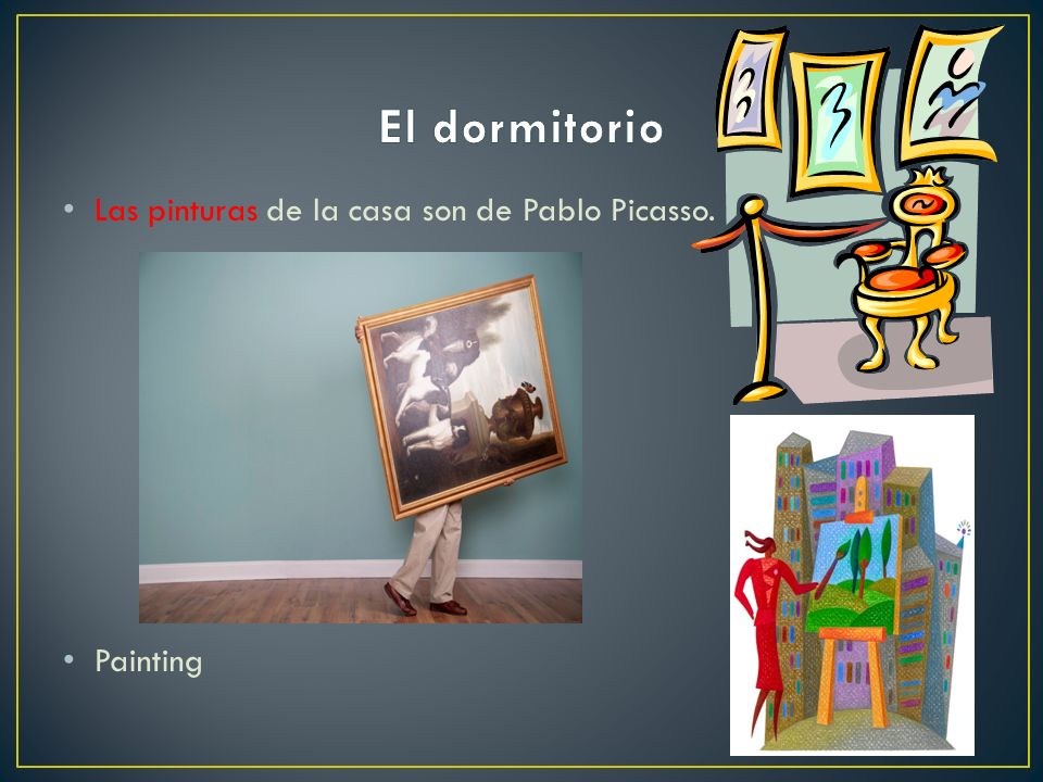 El dormitorio Las pinturas de la casa son de Pablo Picasso. Painting