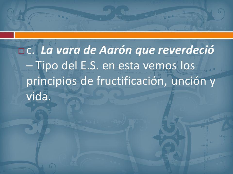 c. La vara de Aarón que reverdeció – Tipo del E. S