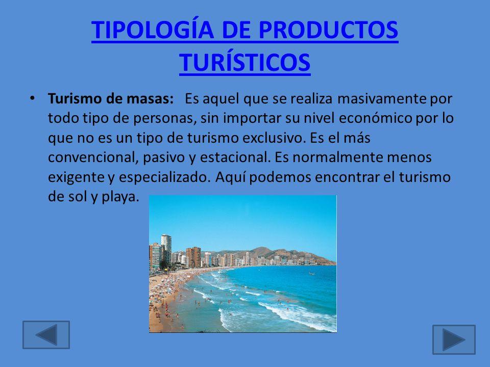 TIPOLOGÍA DE PRODUCTOS TURÍSTICOS
