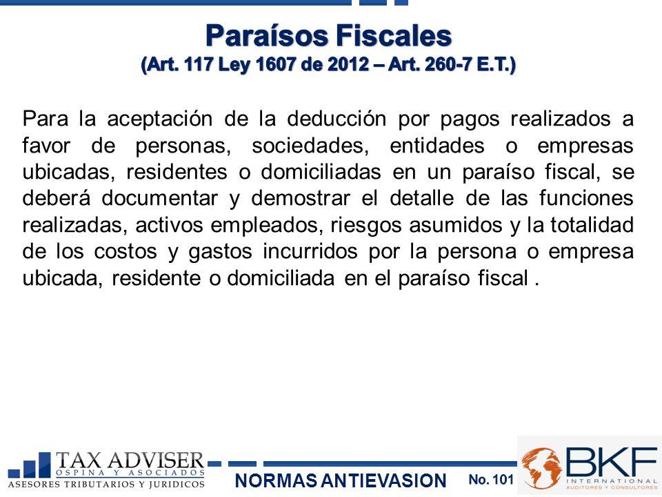 Paraísos Fiscales (Art. 117 Ley 1607 de 2012 – Art. 260-7 E.T.)