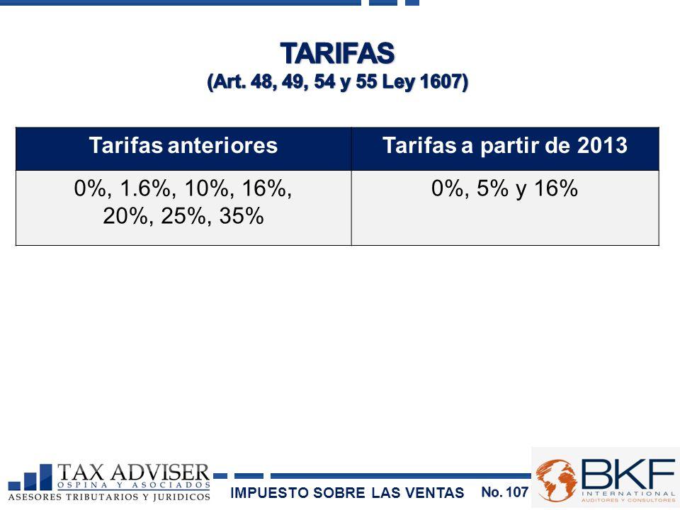 TARIFAS Tarifas anteriores Tarifas a partir de 2013