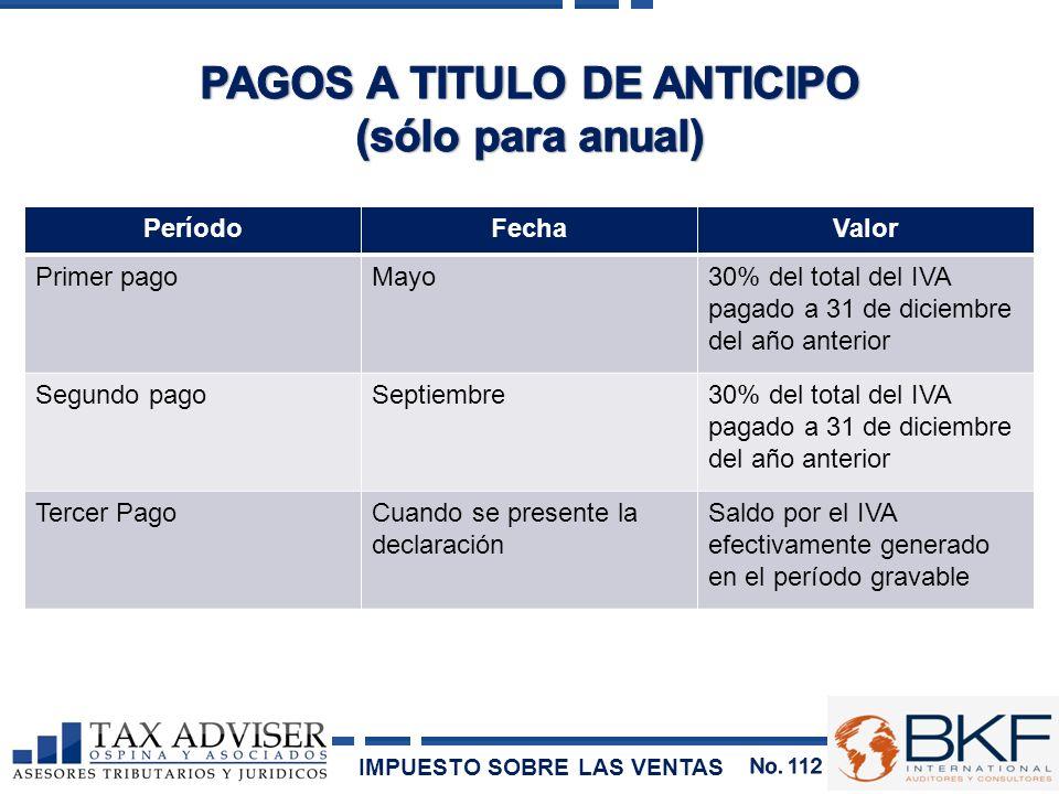 PAGOS A TITULO DE ANTICIPO