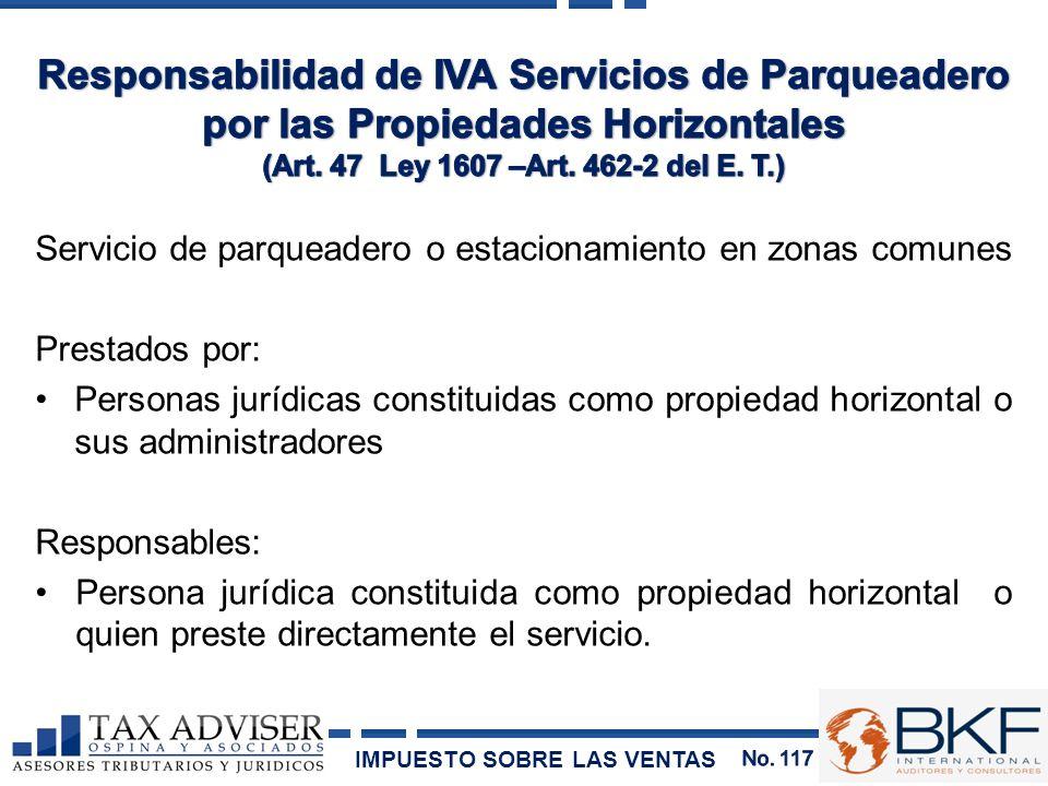 Responsabilidad de IVA Servicios de Parqueadero por las Propiedades Horizontales