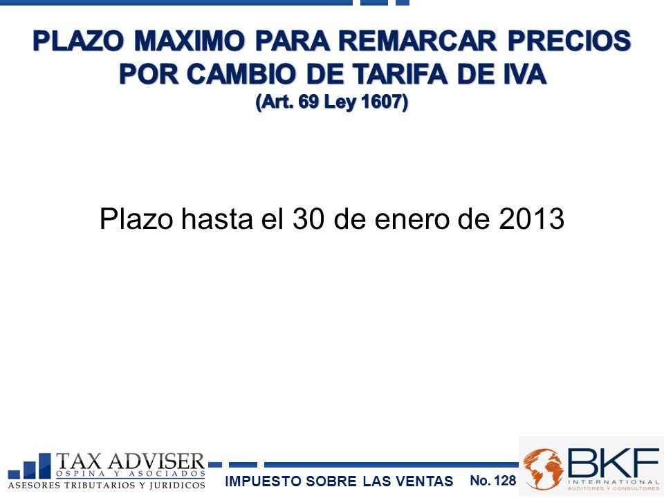 PLAZO MAXIMO PARA REMARCAR PRECIOS POR CAMBIO DE TARIFA DE IVA
