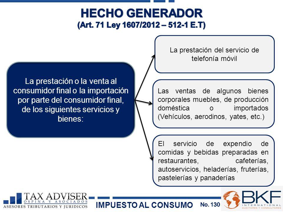 HECHO GENERADOR (Art. 71 Ley 1607/2012 – 512-1 E.T)