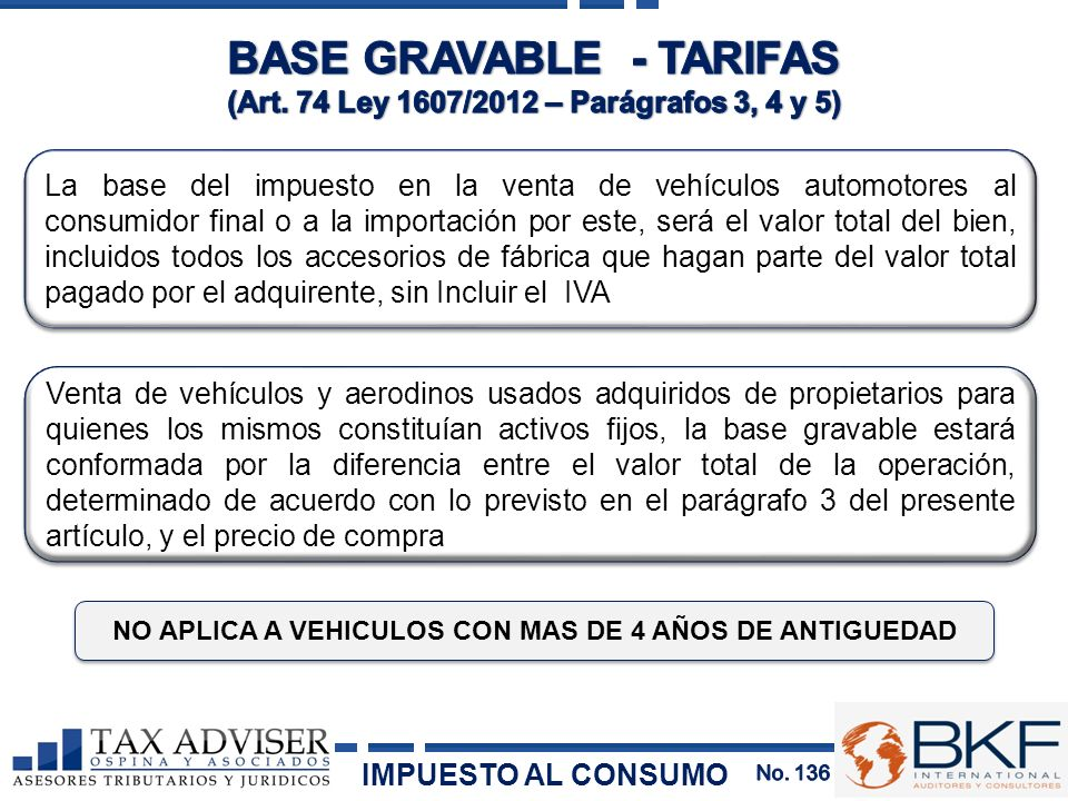 BASE GRAVABLE - TARIFAS