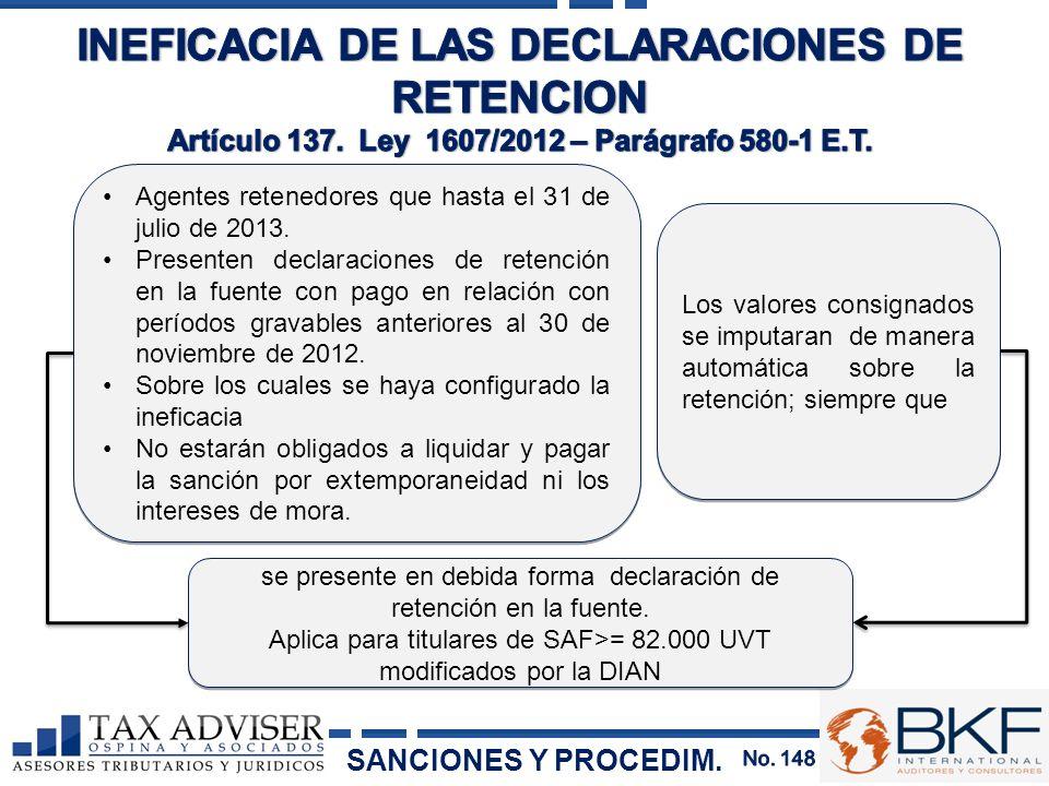 INEFICACIA DE LAS DECLARACIONES DE RETENCION