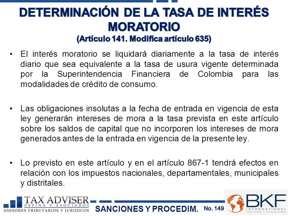 DETERMINACIÓN DE LA TASA DE INTERÉS MORATORIO (Artículo 141