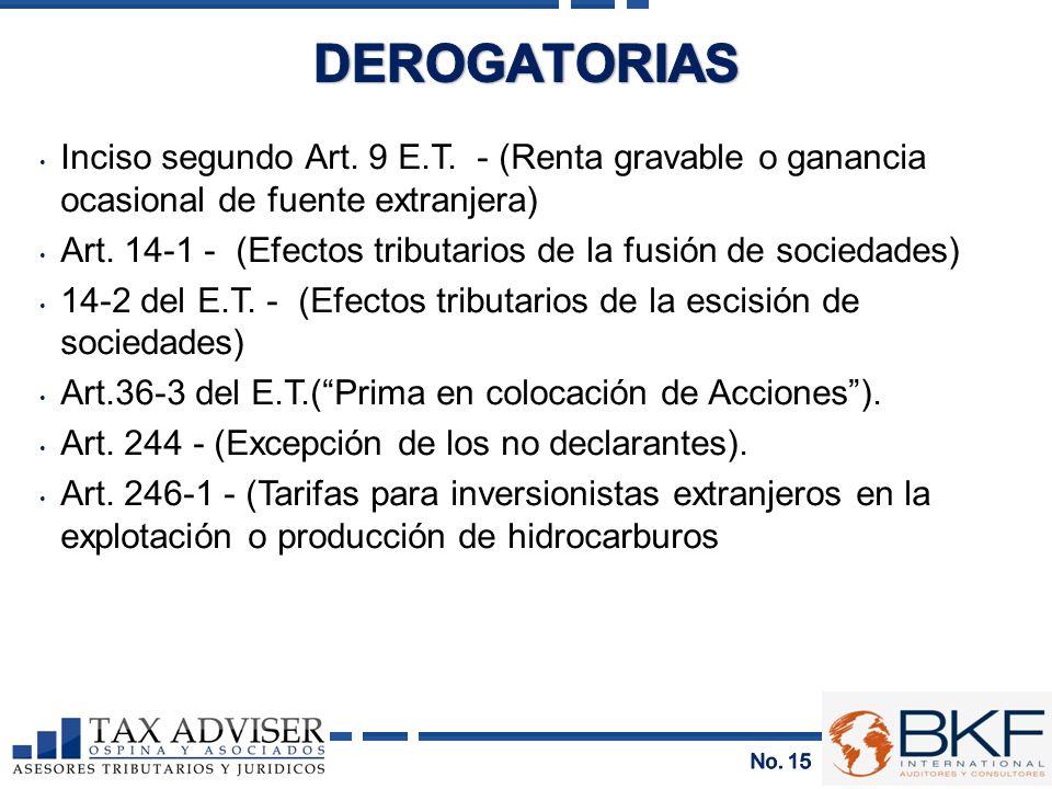 DEROGATORIAS Inciso segundo Art. 9 E.T. - (Renta gravable o ganancia ocasional de fuente extranjera)