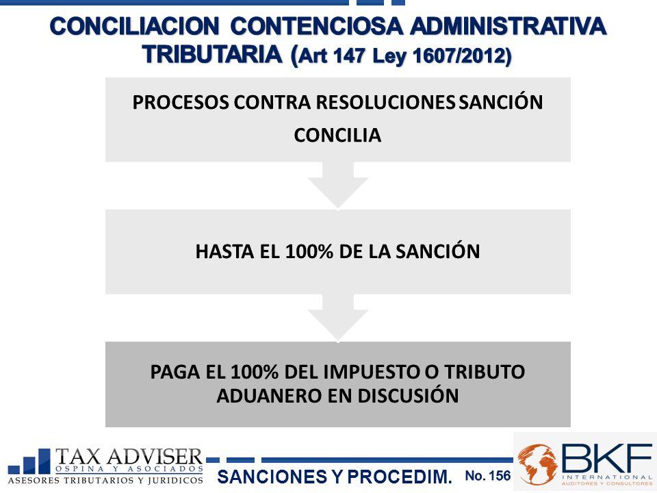 CONCILIACION CONTENCIOSA ADMINISTRATIVA TRIBUTARIA (Art 147 Ley 1607/2012)