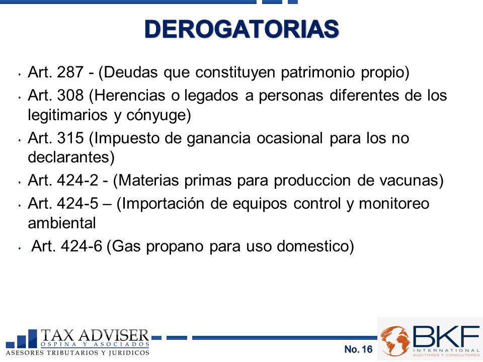 DEROGATORIAS Art. 287 - (Deudas que constituyen patrimonio propio)