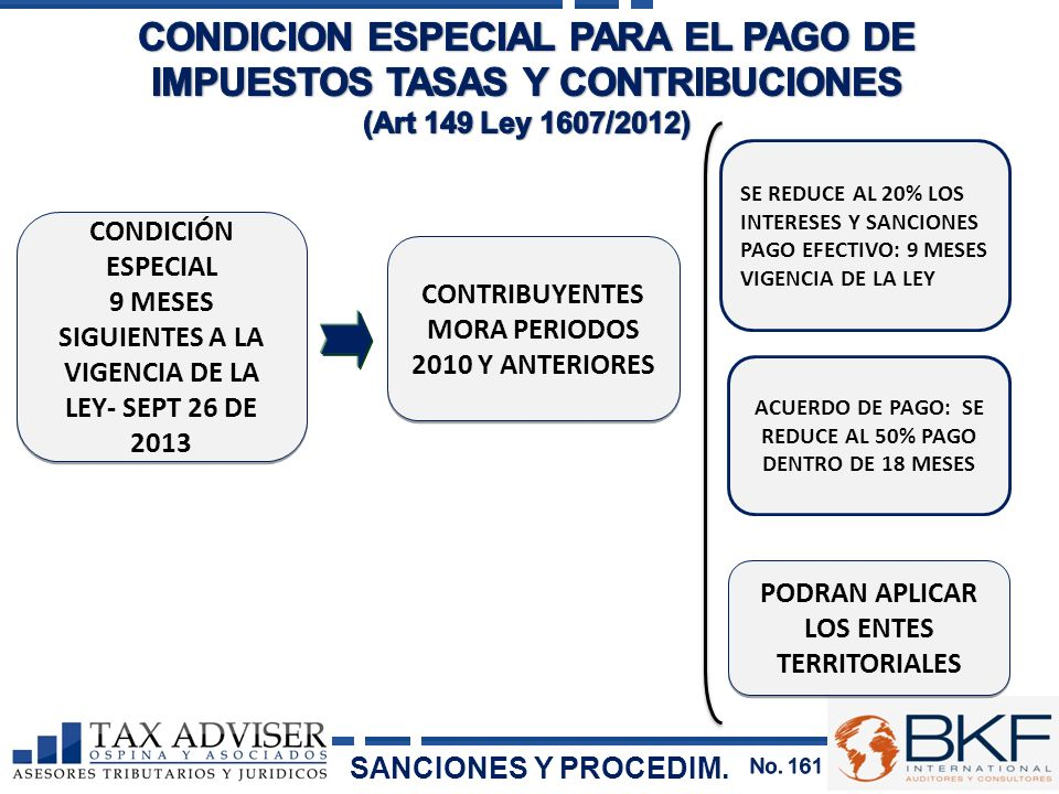 CONDICION ESPECIAL PARA EL PAGO DE IMPUESTOS TASAS Y CONTRIBUCIONES