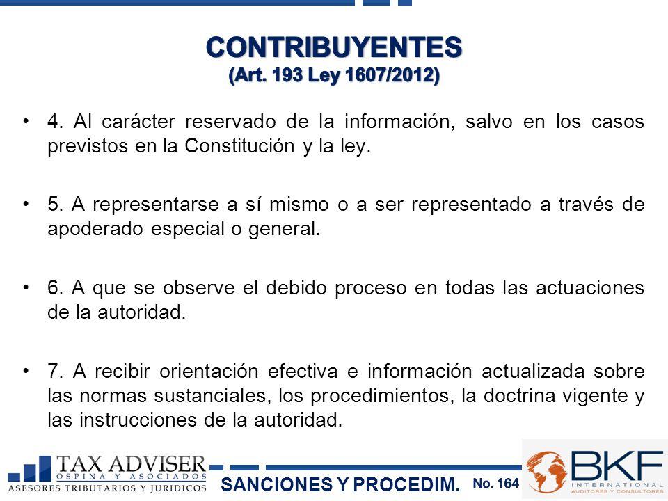 CONTRIBUYENTES (Art. 193 Ley 1607/2012)