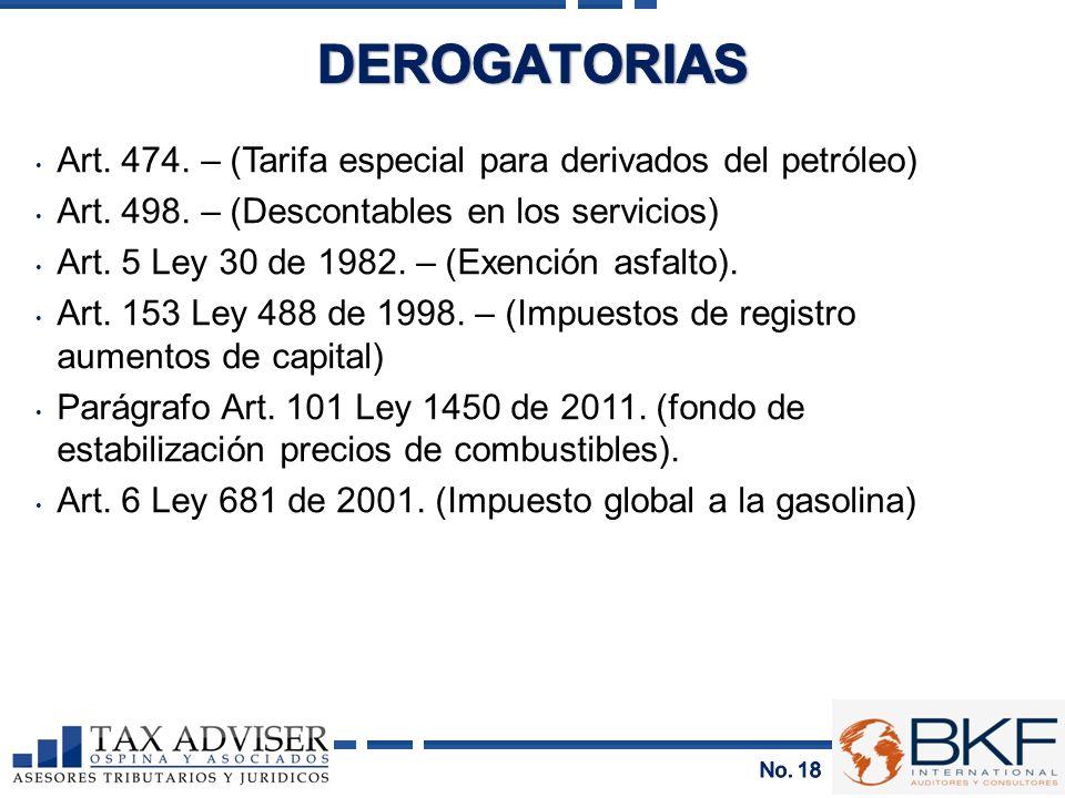 DEROGATORIAS Art. 474. – (Tarifa especial para derivados del petróleo)