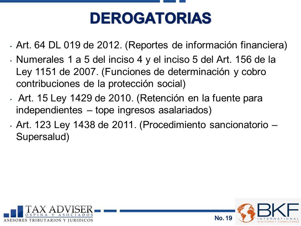 DEROGATORIAS Art. 64 DL 019 de 2012. (Reportes de información financiera)