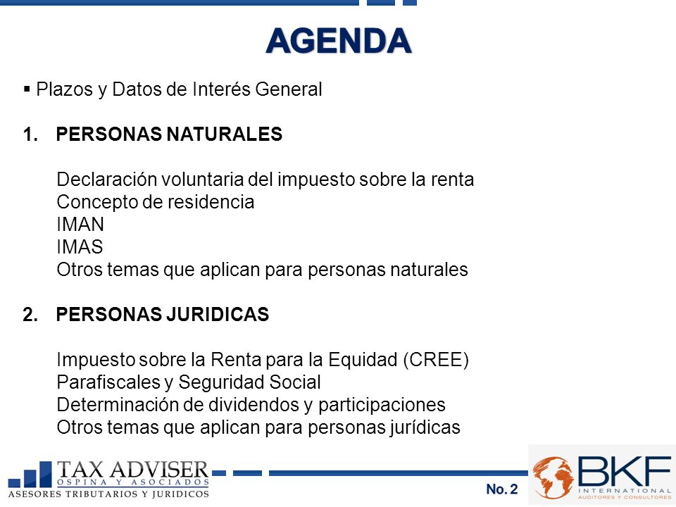 AGENDA Plazos y Datos de Interés General 1. PERSONAS NATURALES