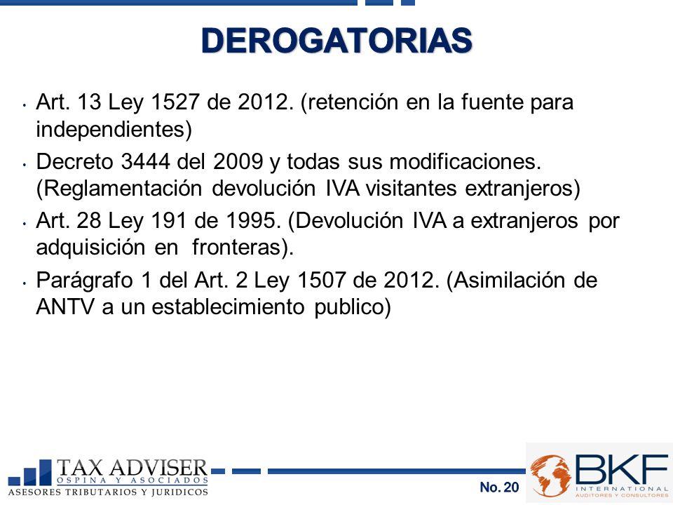 DEROGATORIAS Art. 13 Ley 1527 de 2012. (retención en la fuente para independientes)
