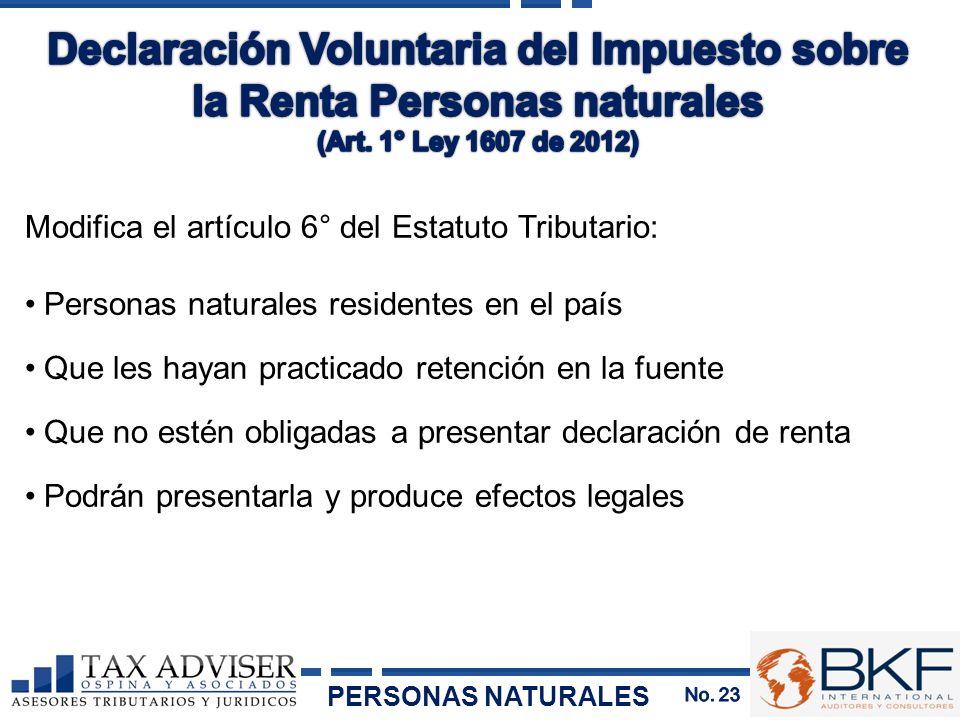 Declaración Voluntaria del Impuesto sobre la Renta Personas naturales