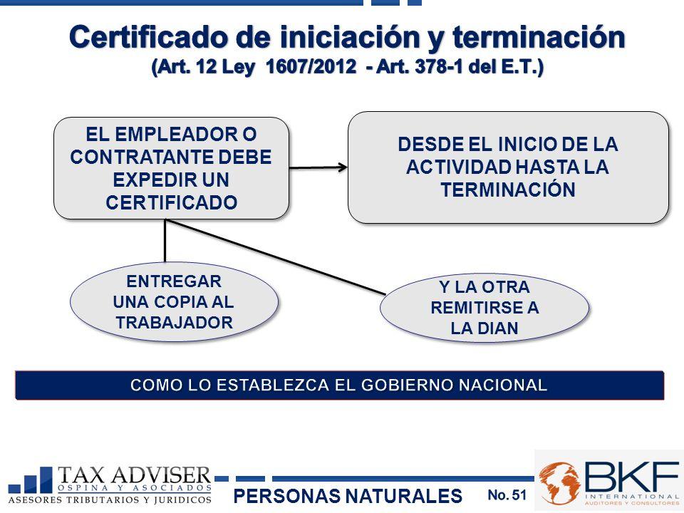 Certificado de iniciación y terminación