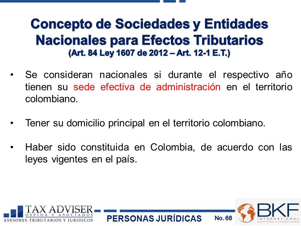 Concepto de Sociedades y Entidades Nacionales para Efectos Tributarios