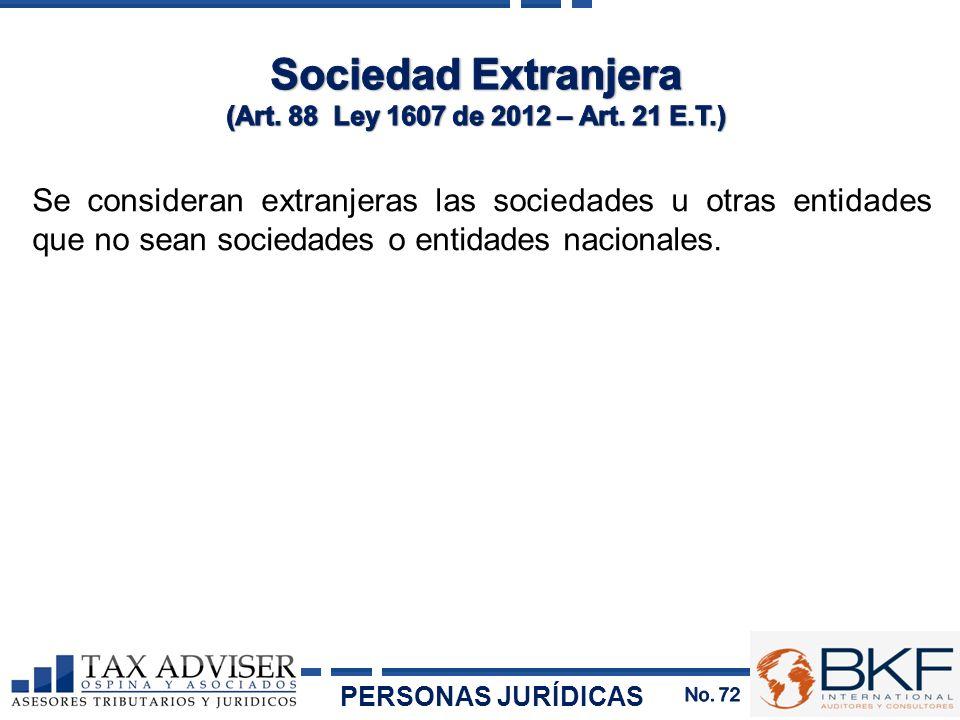 Sociedad Extranjera (Art. 88 Ley 1607 de 2012 – Art. 21 E.T.)
