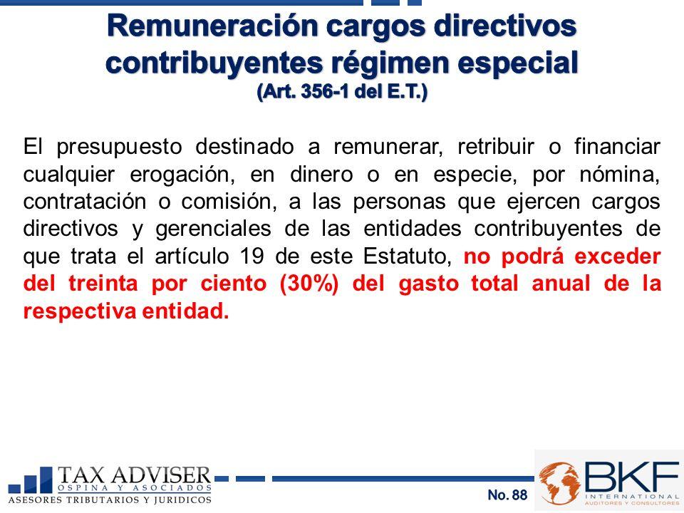 Remuneración cargos directivos contribuyentes régimen especial