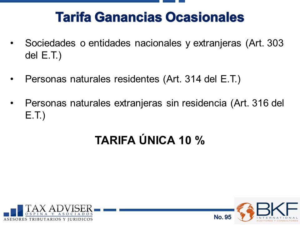 Tarifa Ganancias Ocasionales
