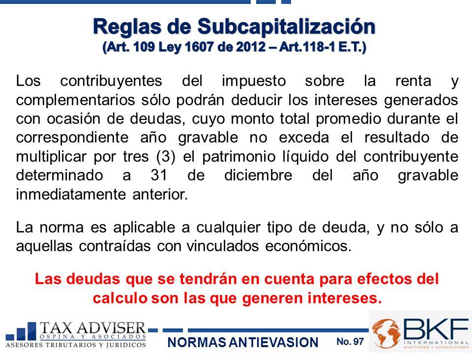 Reglas de Subcapitalización