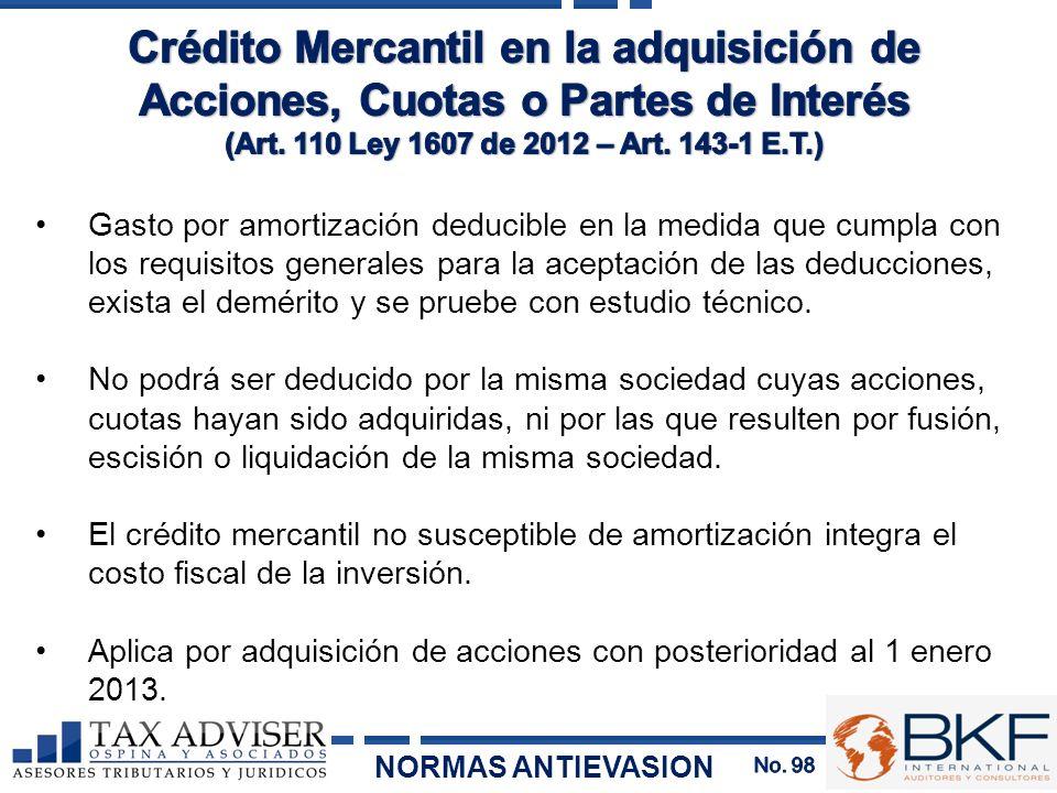 Crédito Mercantil en la adquisición de Acciones, Cuotas o Partes de Interés