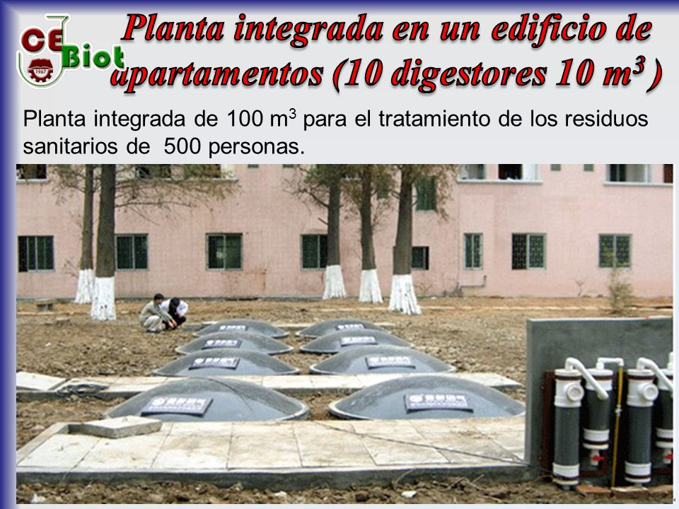 Planta integrada en un edificio de apartamentos (10 digestores 10 m3 )