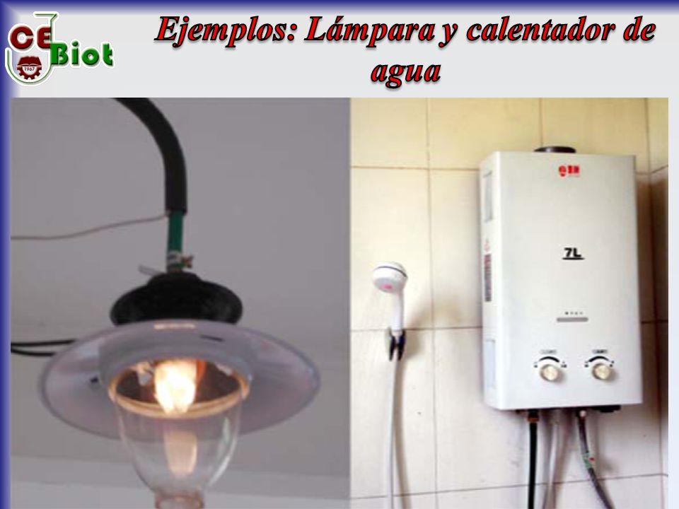 Ejemplos: Lámpara y calentador de agua