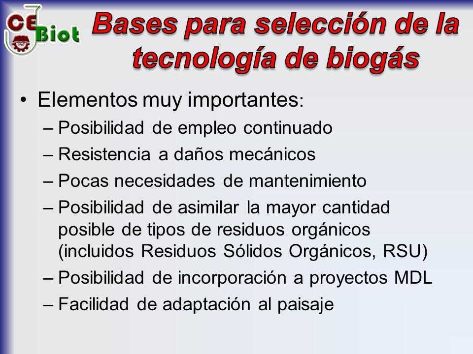 Bases para selección de la tecnología de biogás
