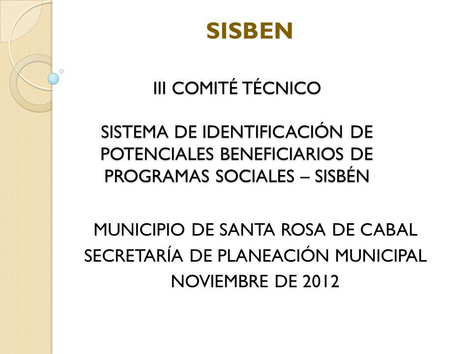 Adminitración Municipal - Santa Rosa de Cabal Secretaría de Planeación Municipal