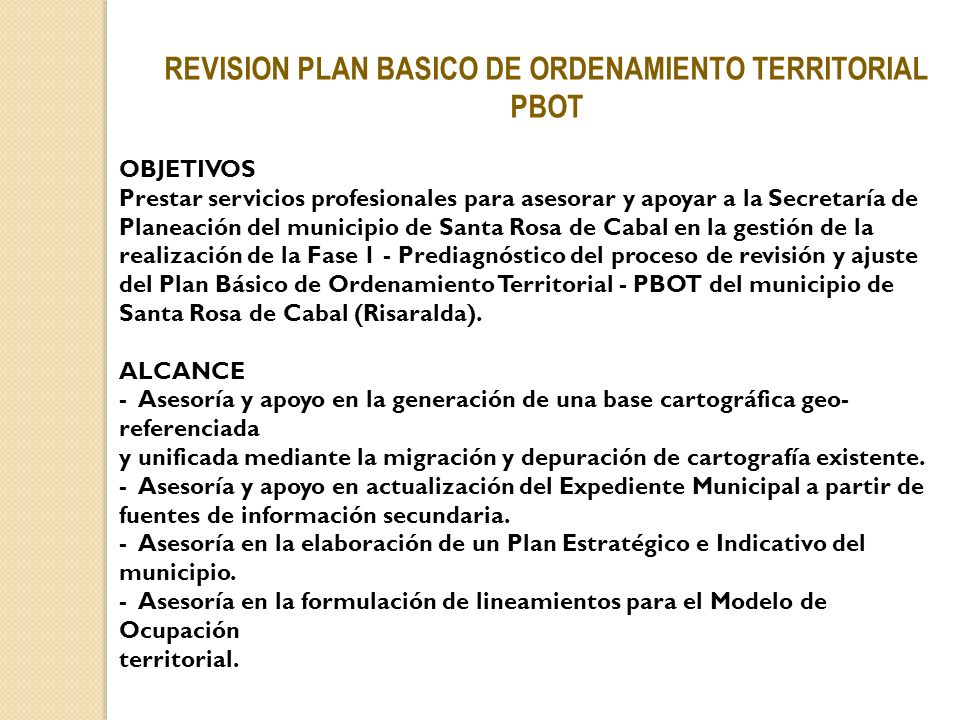 REVISION PLAN BASICO DE ORDENAMIENTO TERRITORIAL PBOT