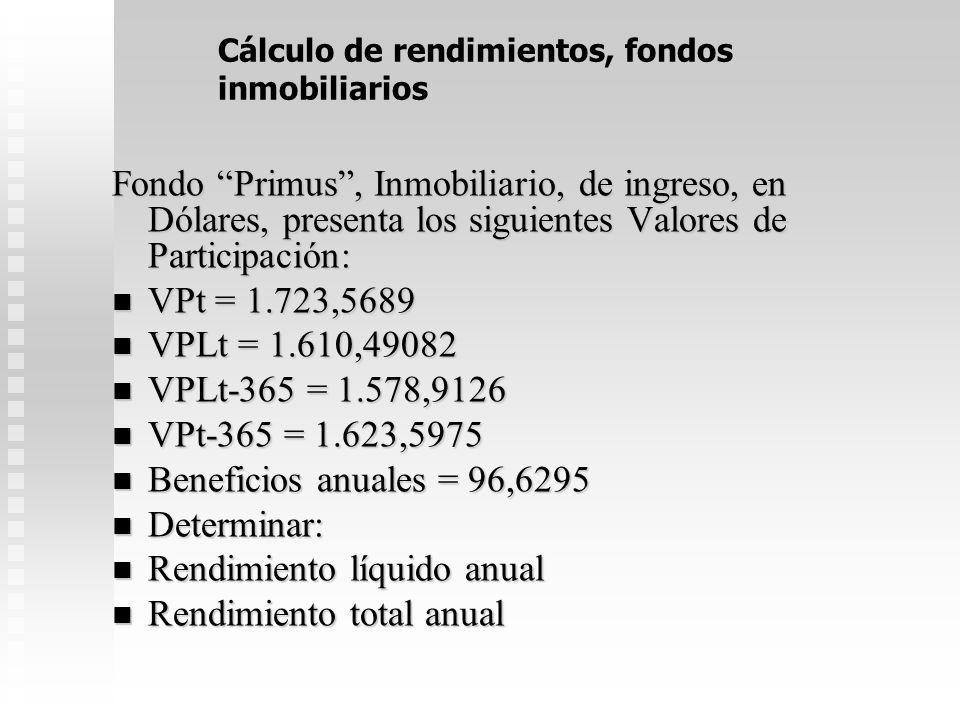 Cálculo de rendimientos, fondos inmobiliarios