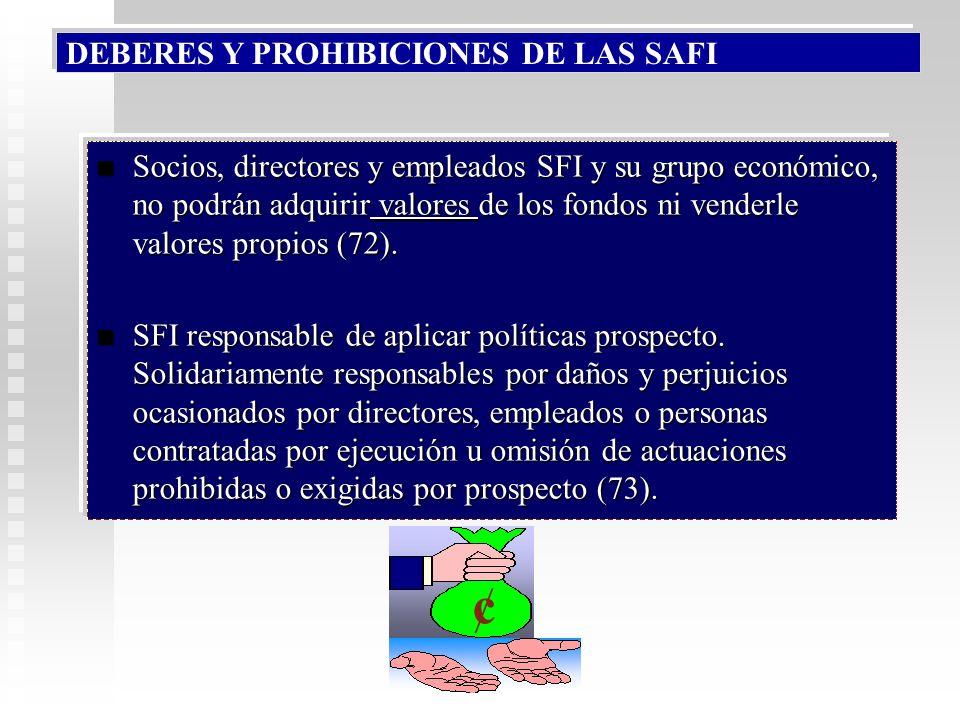 ¢ DEBERES Y PROHIBICIONES DE LAS SAFI