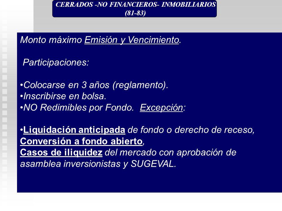CERRADOS -NO FINANCIEROS- INMOBILIARIOS