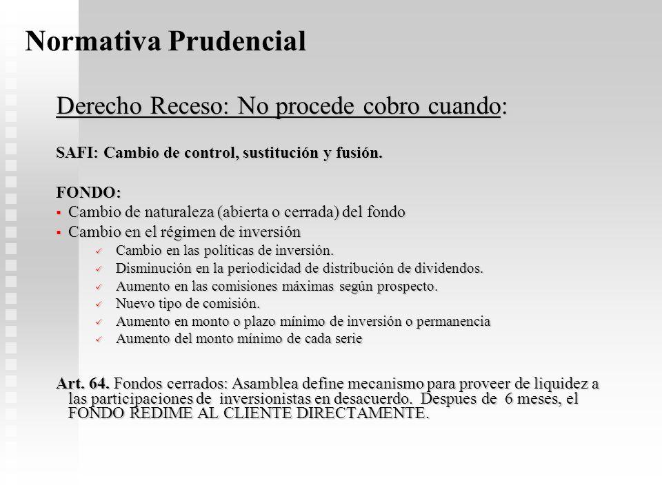 Normativa Prudencial Derecho Receso: No procede cobro cuando: