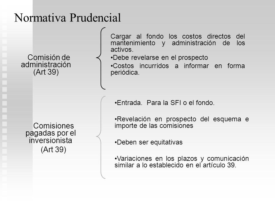 Normativa Prudencial Comisión de administración (Art 39)