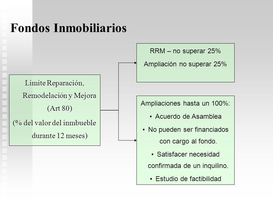 Fondos Inmobiliarios Limite Reparación, Remodelación y Mejora (Art 80)